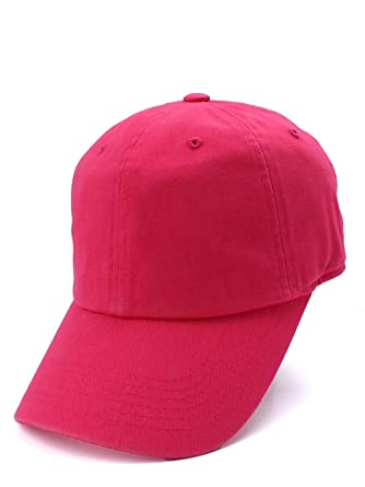 03e93d34548a2 DS Plain Solid Washed Cotton Baseball Cap Caps Curved Brim Blank Hat Polo  Style New, Hot Pink at Amazon Men's Clothing store: