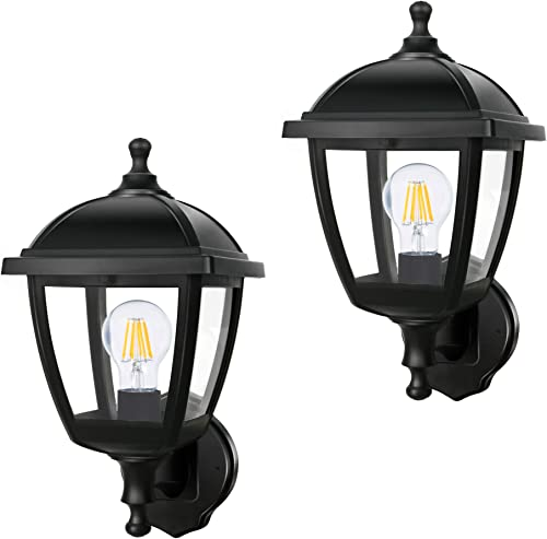 FUDESY 2-Pack Porch Lights,Waterproof Plastic Outdoor Wall Lights with Hard Wires,Exterior Light Fixture for Garage,Driveway,Patio P416