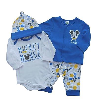Disney Lot de 4 Mickey Mouse bébé garçon Body à manches longues avec  Cardigan - Bleu ac2f4bb74dd
