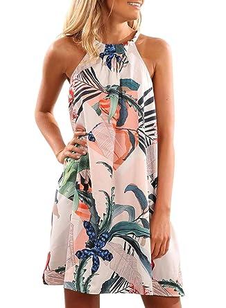 6eba5bd9ad5 Elapsy Womens Casual Floral Sleeveless High Neck Short Sundress Tunic Mini  Dresses: Amazon.co.uk: Clothing
