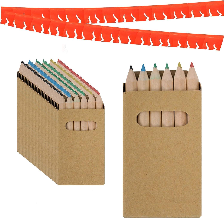 Piñatas de Cumpleaños Infantiles Partituki. 30 Sets de 6 Lapices para Colorear y una Guirnalda (Color Aleatorio) de 20 m. Ideal para Detalles Cumpleaños Infantiles y Regalos Cumpleaños Niños Colegio