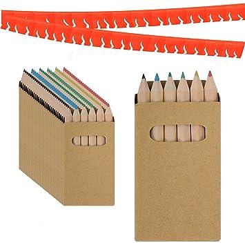 Piñatas de Cumpleaños Infantiles Partituki. 30 Sets de 6 Lapices para Colorear y una Guirnalda (Color Aleatorio) de 20 m. Ideal para Detalles ...