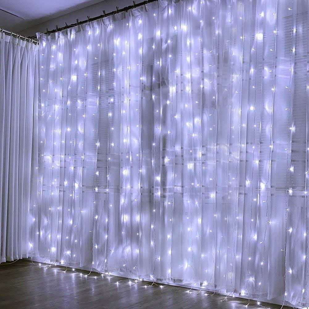 Cortina de Luces, 3m x 3m 300 LED, Blanco Frío, Resistente al Agua ...