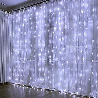 Cortina de Luces, 3x3㎡ Cable de Cobre 300 LED, Resistente al Agua, 31V, 8 Modos de Luz, Decoración de Navidad, Fiestas, Bodas, Jardín, Blanco Frío: Amazon.es: Iluminación
