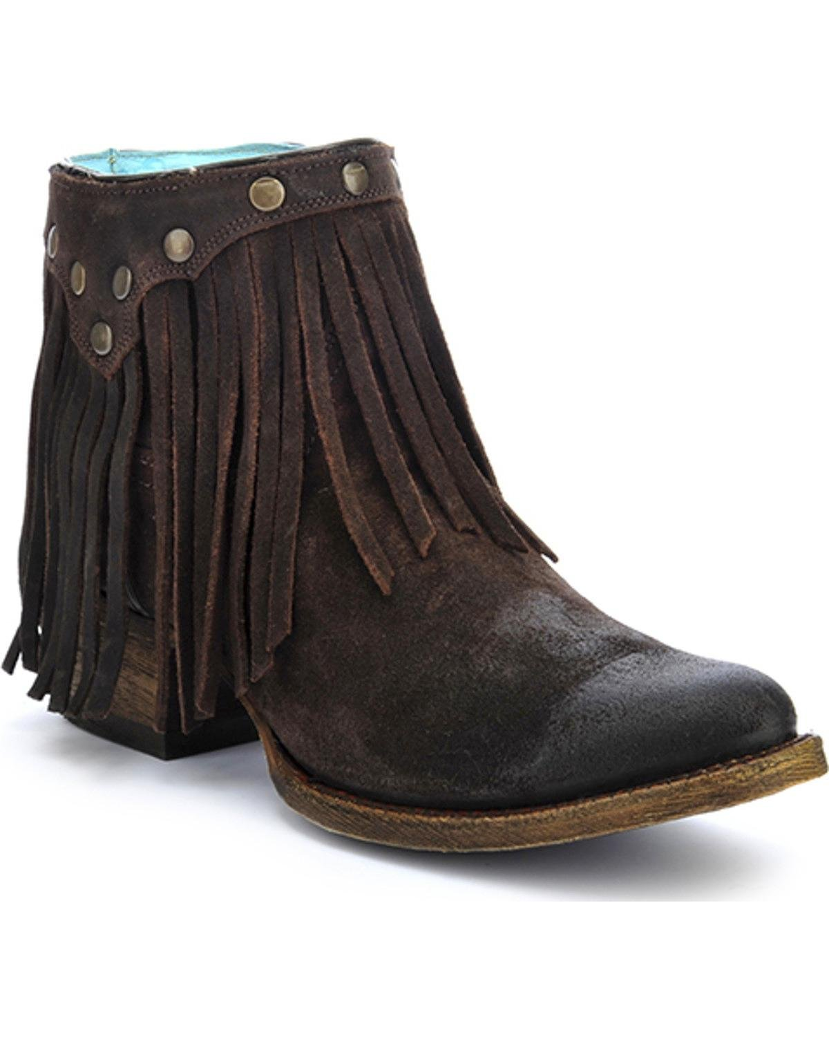 CORRAL Women's Fringe Ankle Boot Round Toe - A3136 B01EYM4J38 6 B(M) US Brown