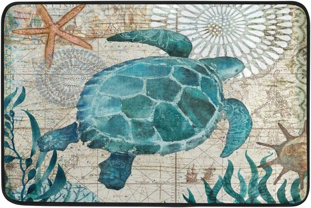 Sea Turtle Doormat Nautical Ocean Theme Starfish Retro Map Floor Mats Non Slip Washable Indoor Outdoor Entrance Bathroom Door Mat Home Decor, 23.6 x 15.7 inch