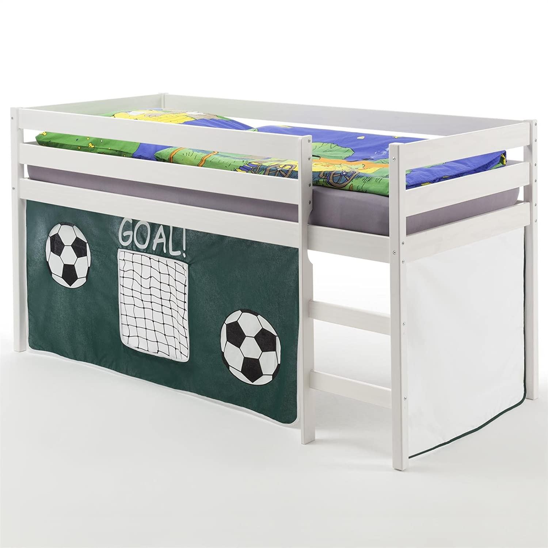 IDIMEX Hochbett Spielbett Kinderbett Erik, Kiefer massiv, weiß lackiert mit Vorhang Fussballmotiv
