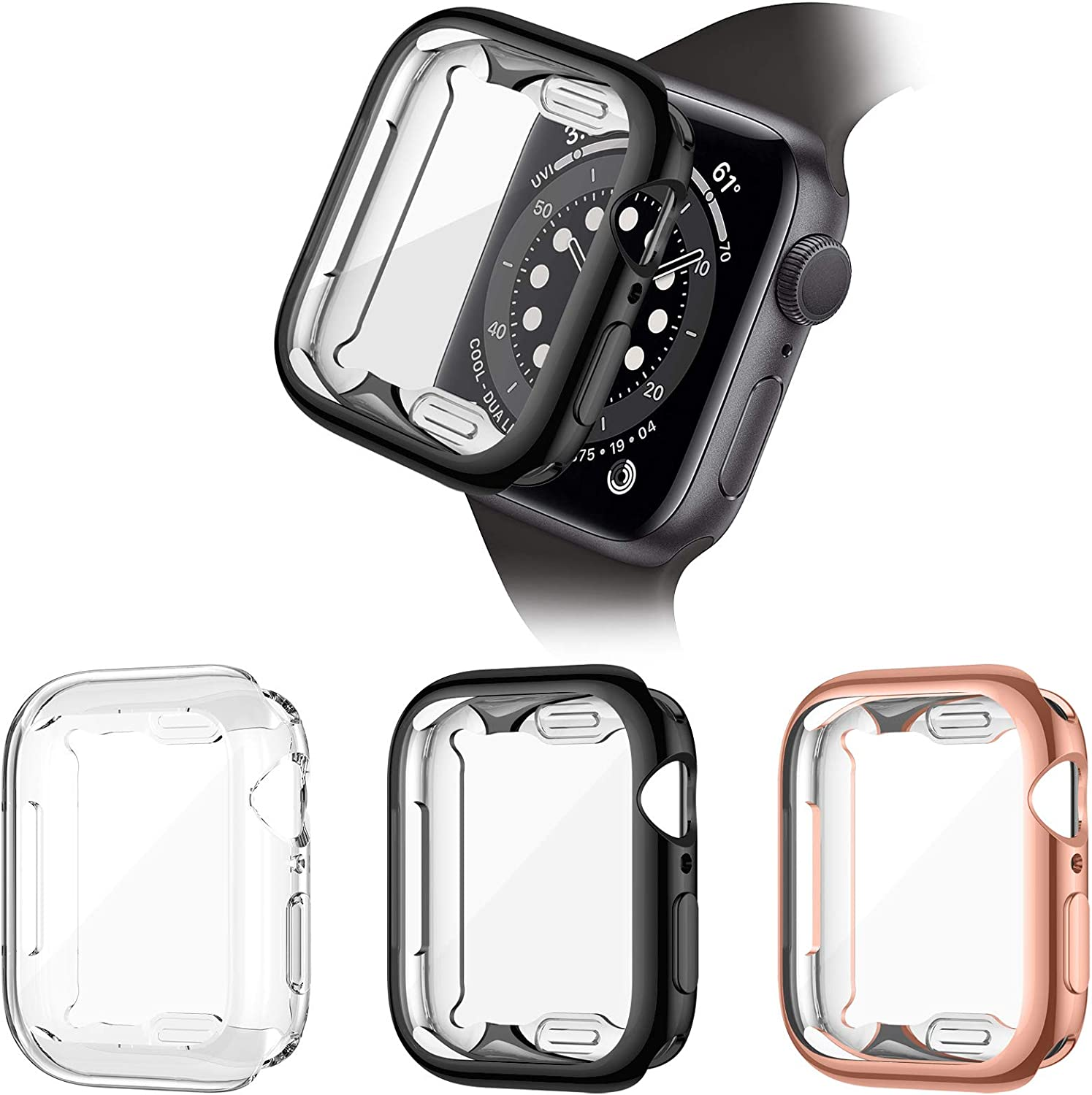 ZEBRE 3 Pack Screen Protector Compatible with Apple Watch SE/Series 6 / Series 5 / Series 4 44mm, Soft TPU Full Coverage Protective Case Cover Compatible with iWatch Series SE/6/5/4