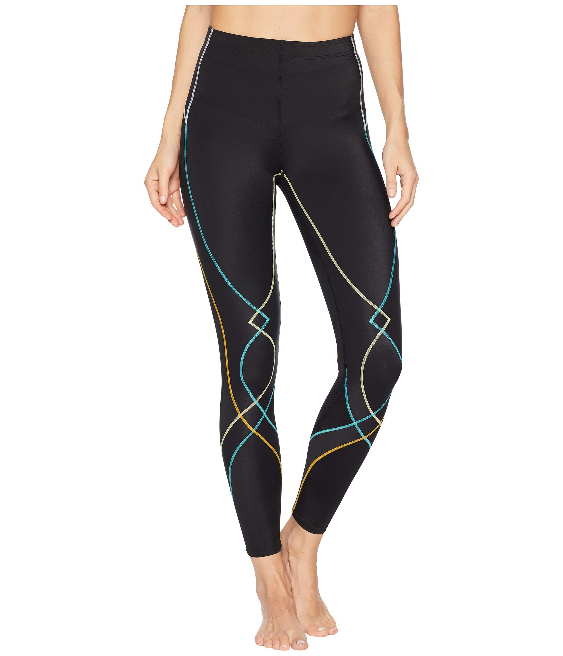 CW-X Women's Stabilyx Joint Support Compression Tight, Black/Bright Rainbow, X-Small by CW-X (Image #1)