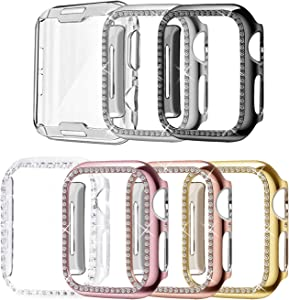 Mosonio Case Compatible with Apple Watch 38mm Women Men, 6-Pack Bling Soft PC Case Full Cover Bumper Frame+ 1-Pack Clear TPU Screen Protector Cover for iWatch Series 3 Series 2/1(38mm,7 Pack-A)