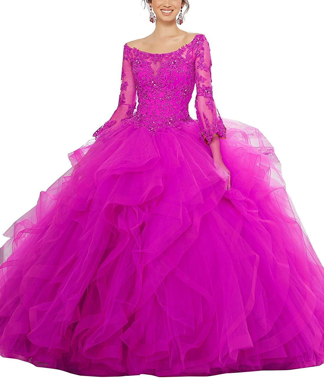 Fuchsia Now and Forever Women's Long Sleeve Beaded lace Quinceanera Dresses Ruffles Ball Gown Prom Gowns