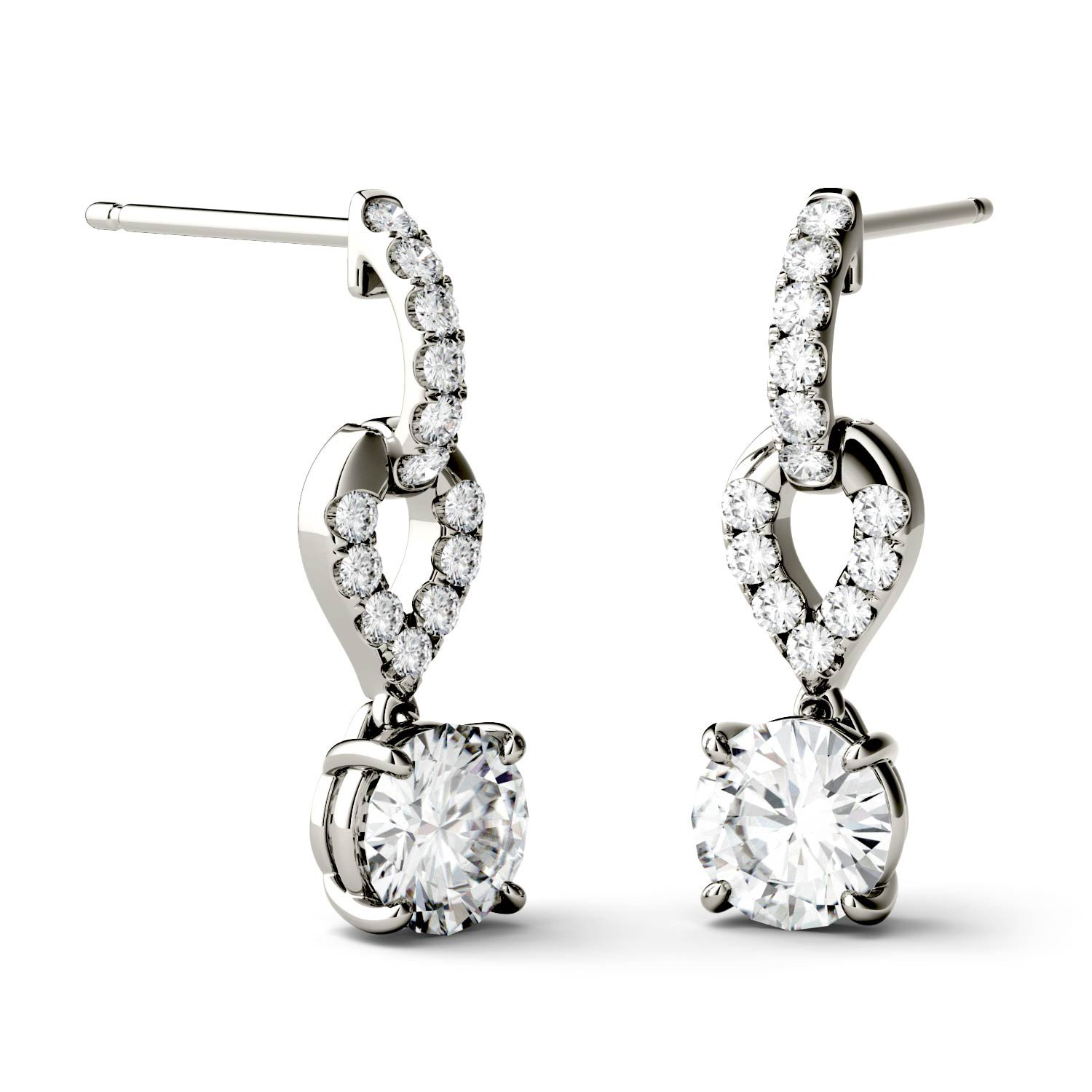 Forever Brilliant 5.0mm Round Moissanite Drop Earrings, 1.26cttw DEW by Charles Colvard