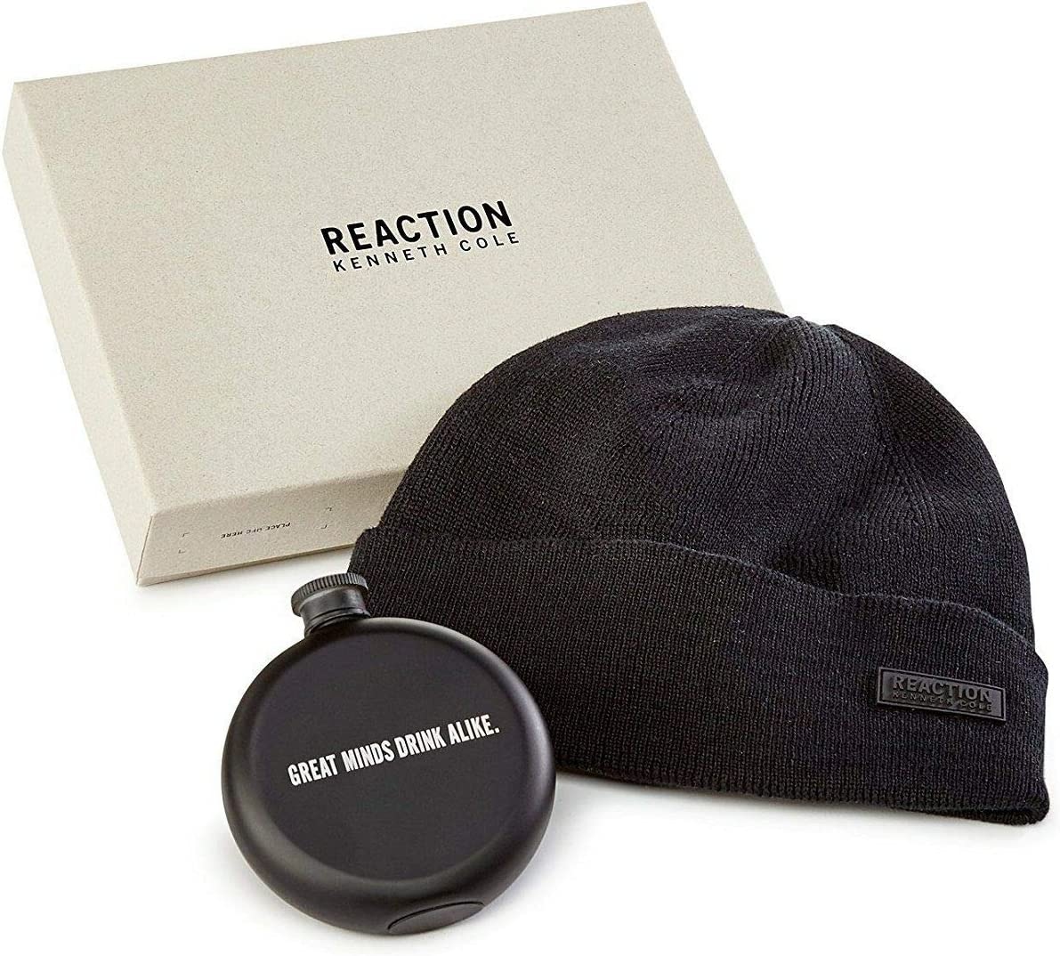 Kenneth Cole Mens Flask Gift Set Beanie Hat blk One Size
