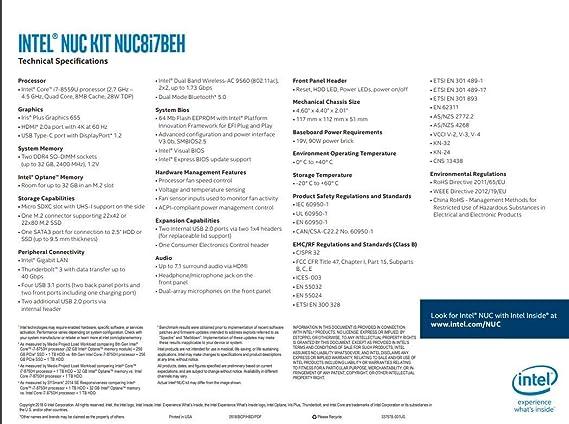 Amazon com: Intel NUC NUC8i7BEH Mini PC/HTPC, Intel Quad-Core i7