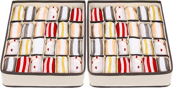 Youngine 24 Cell plegable organizadores de armario cajones cajas de almacenamiento de caj/ón de la ropa plegable para sujetador ropa interior calcetines