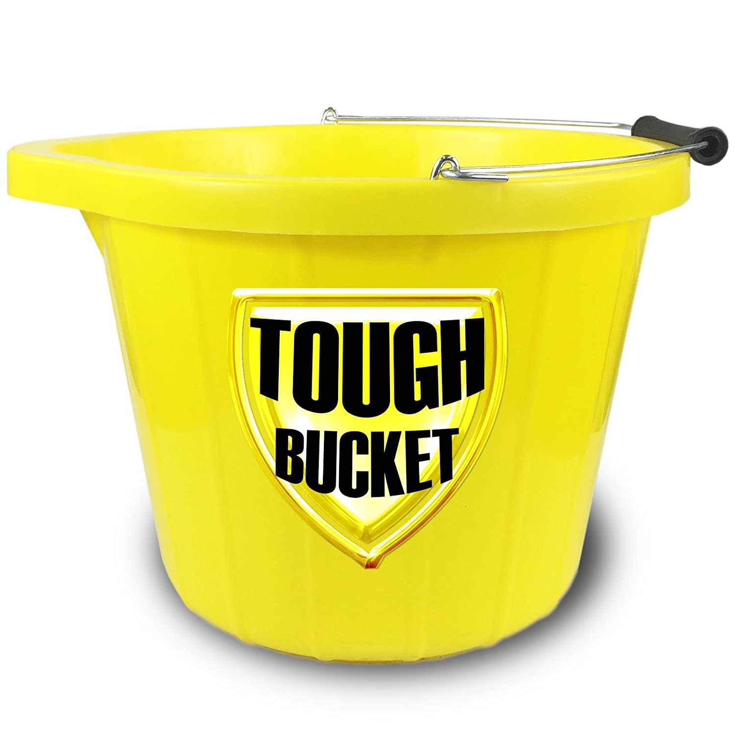 CrazyGadget Super Heavy Duty Invincible Yellow Builders Bucket Plastic 3 Gallon 15 Litre 15L Strong Water Mixing Storage (5 Years Guarantee) (10)