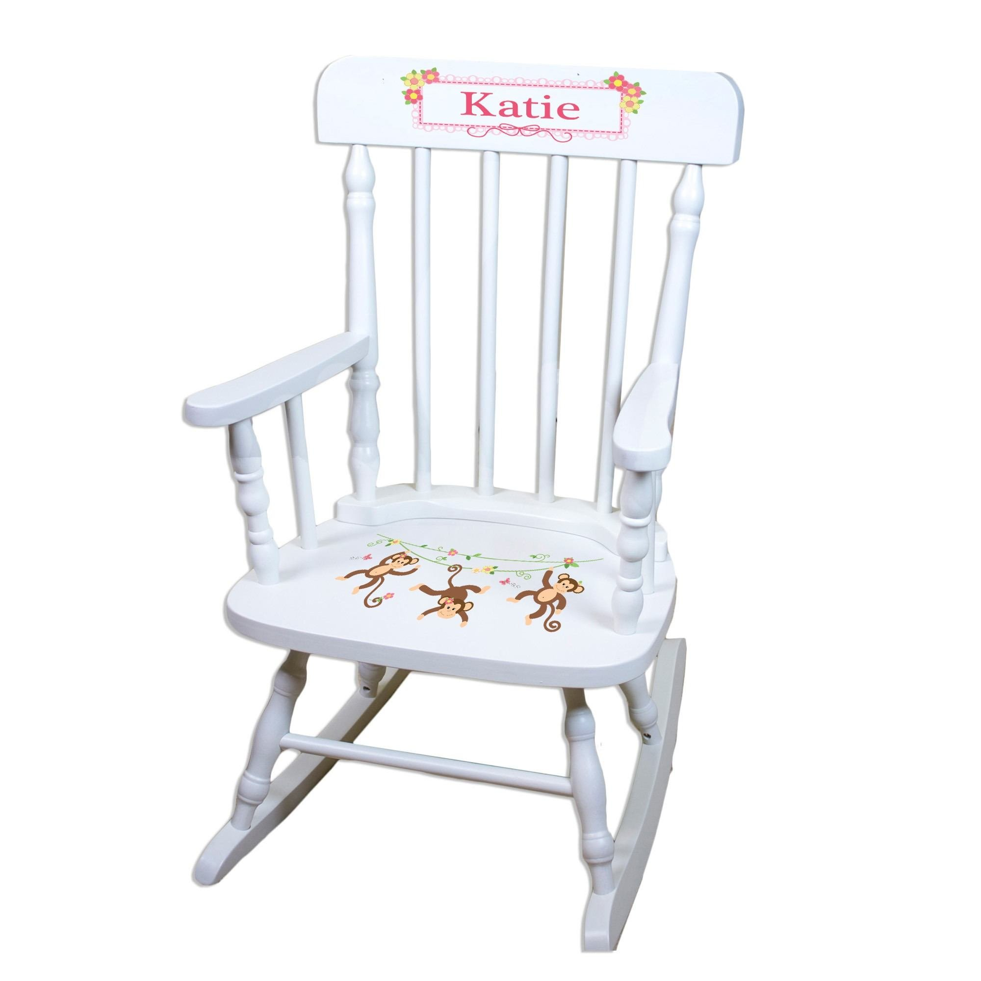 MyBambino Personalized Monkey Girl White Wooden Childrens Rocking Chair