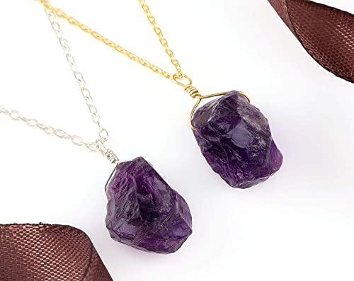 Natural Amethyst Pendant 925 Sterling Silver with Solid 14kt Yellow Gold