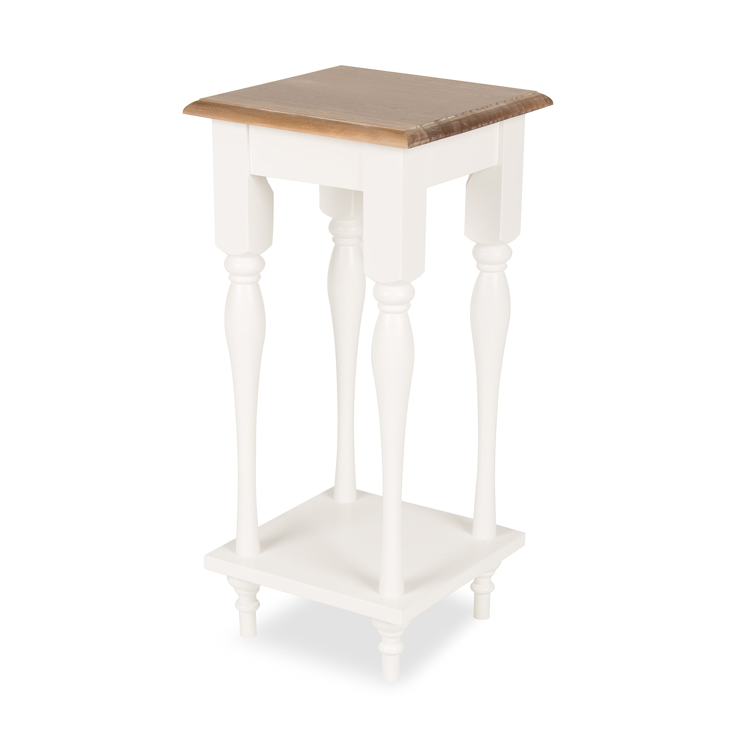 Kate and Laurel Sophia Rustic Wood Top Plant Stand End Table with Shelf, White