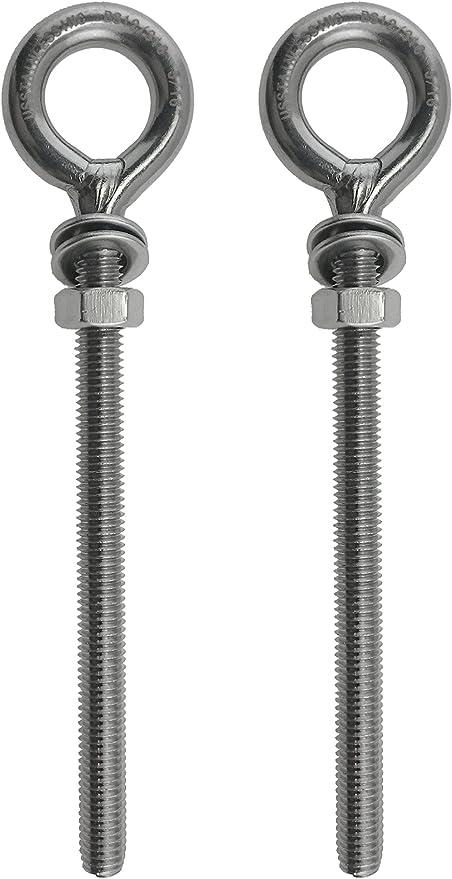 4 pernos de acero inoxidable 316 M6 de 6 mm x 40 mm de grado marino