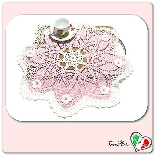 Tapete grande rosa y blanco de ganchillo en algodón - Tamaño: ø 45 ...