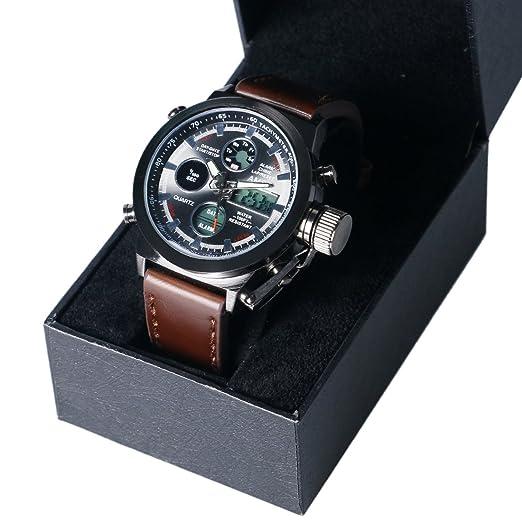 Reloj deportivo para hombre de Yisuya, AMST 3003, buceo hasta 30 m, LED, cuarzo, correa de tela, con caja de regalo: Amazon.es: Relojes