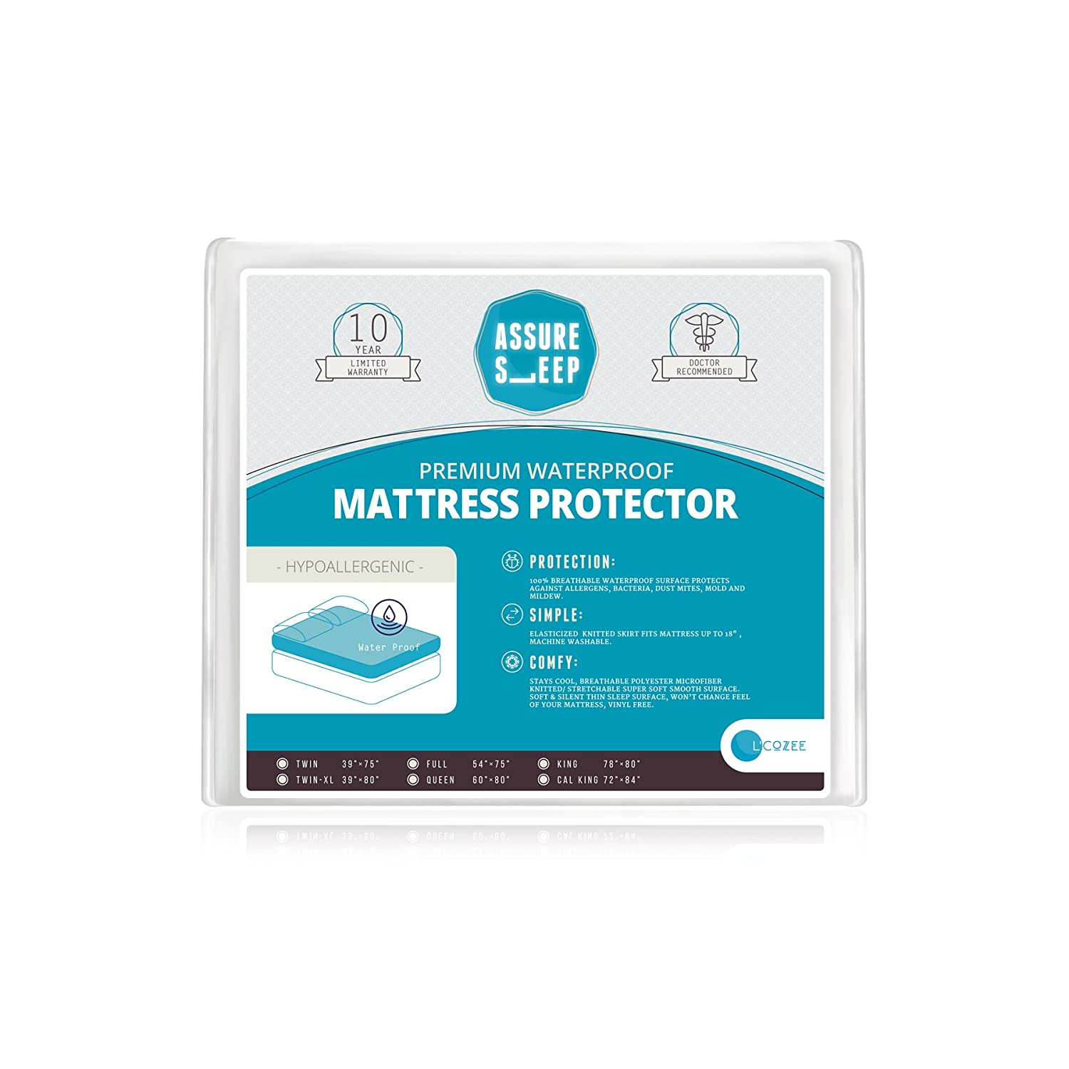 Breathable Hypoallergenic Vinyl Free Queen Size Premium Waterproof Mattress Protector Dust Mite Proof Cover by Assure Sleep by LCOZEE