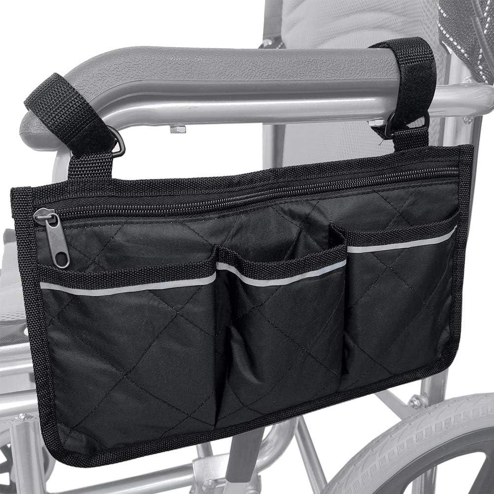 Bolsas para Silla de Ruedas - Organizador Accesorios Silla de Ruedas, Bolsa de Scooter de Movilidad, Portátil de Movilidad Impermeable con 4 Bolsillos, Negro