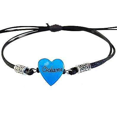 Yves Boucher Bracelet Enfant Personnalisé avec Prénom Bleu Extensible 891fd2fad481