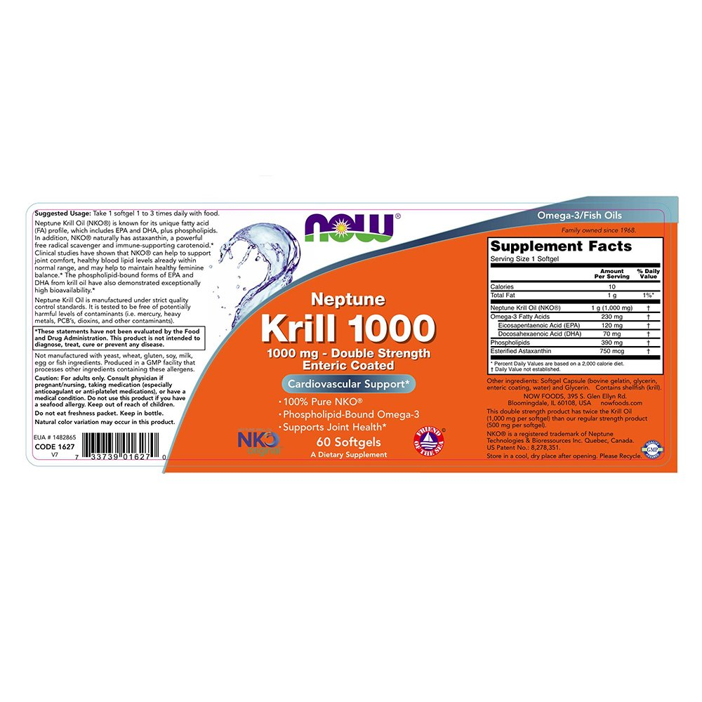 NOW Neptune Krill 1000mg Softgels Image 2