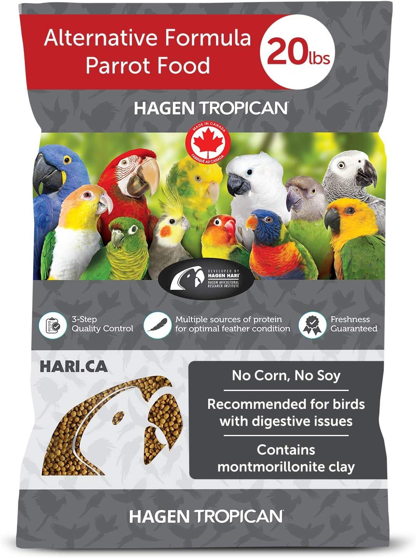 Hagen Tropican Bird Food, HARI Parrot Food Alternative Formula for Birds with Digestive Issues, No Soy or Corn, 4mm Granules