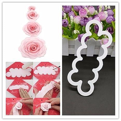 HaimoBurg Plantilla para rosas, Moldes para Fondant, Decoración, en 4 Tamaños Diferentes