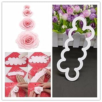 HaimoBurg Plantilla para rosas, Moldes para Fondant, Decoración, en 4 Tamaños Diferentes: Amazon.es: Hogar