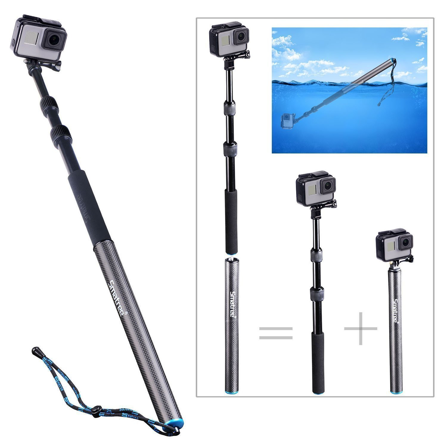 Smatree S3 Detachable Extendable Floating Pole for GoPro Hero Fusion/6/5/4/3+/3/2/1/Session/GOPRO HERO (2018),Action Cameras,HD Cameras
