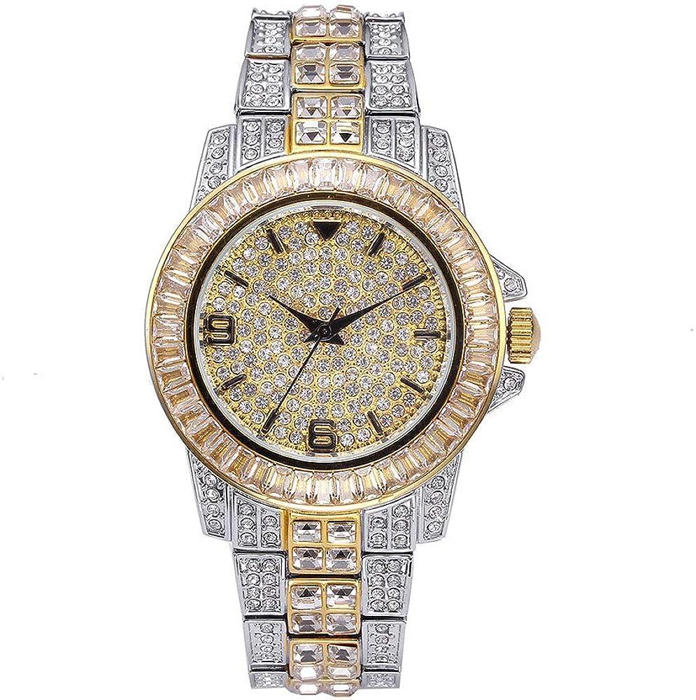 Reloj Diamond Diamond Watch con Reloj de Hip Hop Completo para Hombres Bling Bling Reloj de Diamantes simulado Reloj