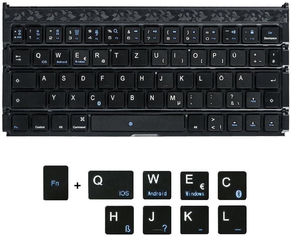 Free Soo Plegable Bluetooth Teclado QWERTZ Alemán Keyboard con Soporte Compatible con iOS Android Windows Negro