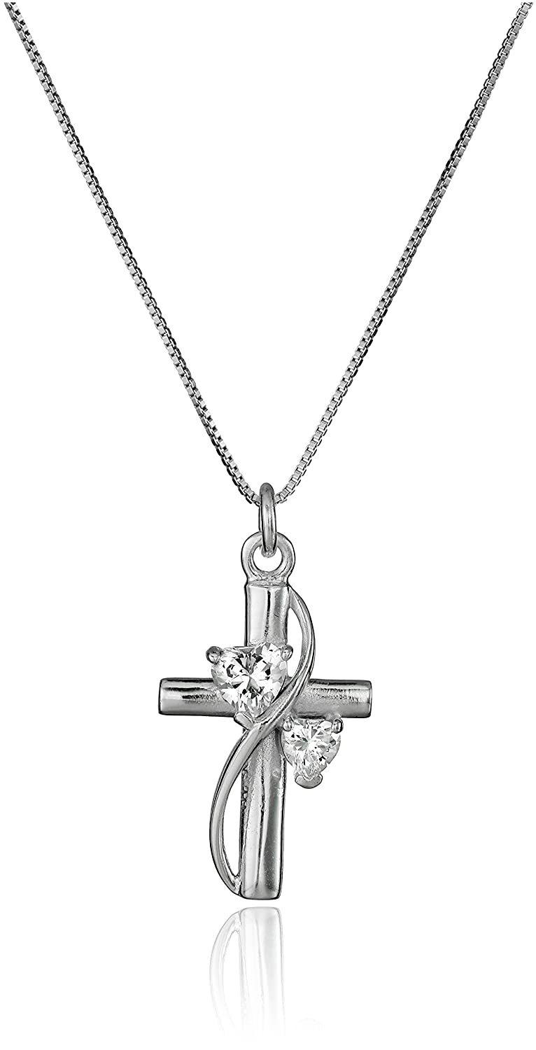 Sterling Silver Cubic Zirconia Faith Hope Love Cross Pendant Necklace, 18 18 Amazon Collection 441437
