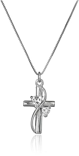 """Sterling Silver Cubic Zirconia """"Faith Hope Love"""" Cross Pendant Necklace, 18"""""""