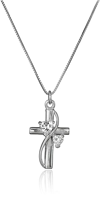 Amazon sterling silver cubic zirconiafaith hope love cross sterling silver cubic zirconiaquotfaith hope lovequot cross pendant aloadofball Image collections