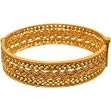 JFL - Traditional Ethnic One Gram Gold Plated Braided Gold Bead Designer Openable Kada for Women & Girls.