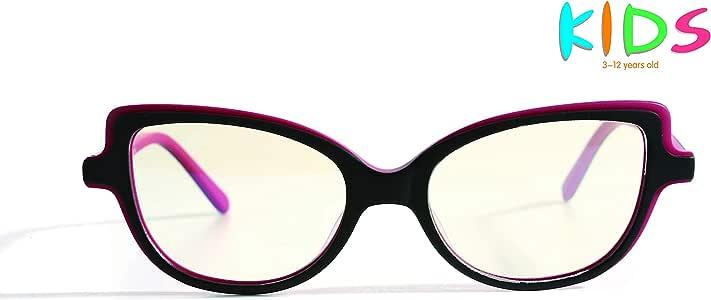AVOptical Kids' Blue Light Blocking Glasses for Computer Reading Games (Age 3-12), Advanced Renewable Material, Anti Eyestrain Headache-AV2003-C2