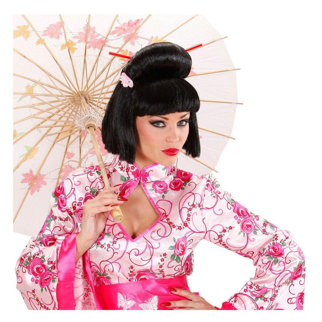 Peluca negro geisha japonesa con flores y palillos asia chica ...