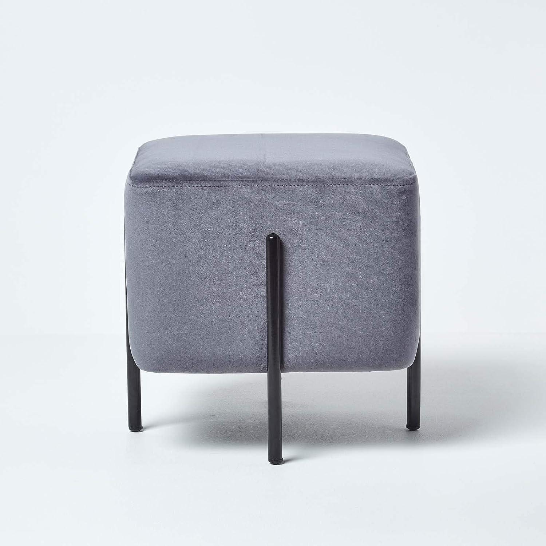 Footstool Full stool pouffe Velvet azure blue British made