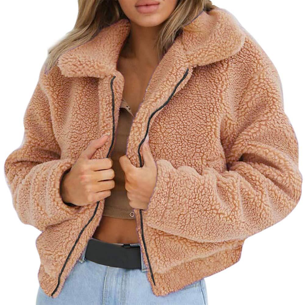 BaZhaHei Womens Turn-Down Collar Overcoat Ladies Warm Artificial Wool Coat Fashion Zipper Jacket Winter Parka Outerwear Warm Short Coat Night Club Jacket Tops
