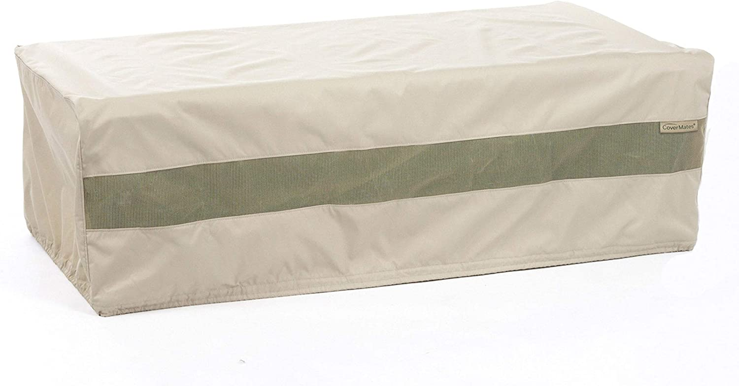 Covermates Rectangular Accent Table Cover 60W x 36D x 25H Elite 300D Stock-Dyed Polyester Double Stitched Seams Locking Drawcord System 3 YR Warranty Weather Resistant – Khaki
