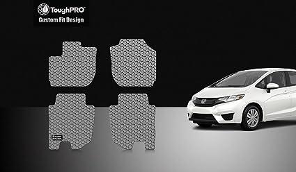 ToughPRO Honda Fit Floor Mats Set   All Weather   Heavy Duty   Gray Rubber