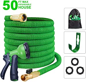 """Expandable Garden Hose 3/4"""" Solid Brass Fitting - Expanding Water Hose with Hanger Hook 8 Pattern Spray Nozzle, Extra Strength Textile Hose Shut Off Valve"""