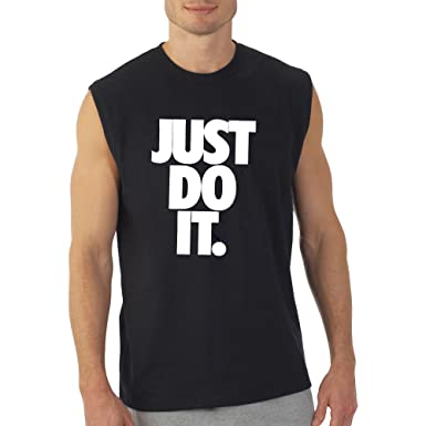 c702ab06 Crazy Prints Mens Cotton Round Neck Sleeveless T-Shirt-Just Do It (Small