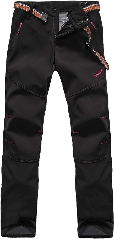 Tofern Pantalones de invierno para mujer [Cálidos + Transpirables + Impermeables + Resistentes al viento + Softshell] para senderismo, escalada, ...