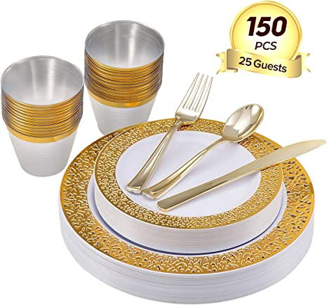 Plastic Dinnerware Set For Party Wedding 150PCS 25 Guests- Disposable Dinnerware & Hard Plastic Plates Cutlery Set for Dinner, Holiday (White With Gold Lace, No Napkins)
